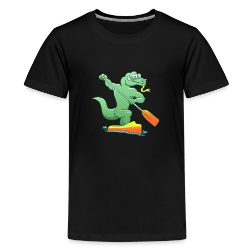 Water Monitor Competing in a Canoe Sprint Event - Teenage Premium T-Shirt