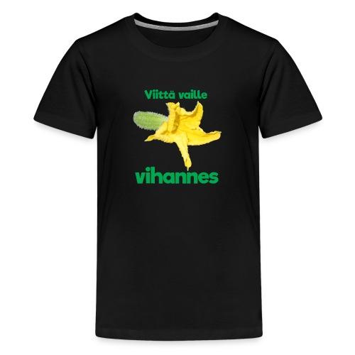 Viittä vaille vihannes, avomaankurkku - Teinien premium t-paita