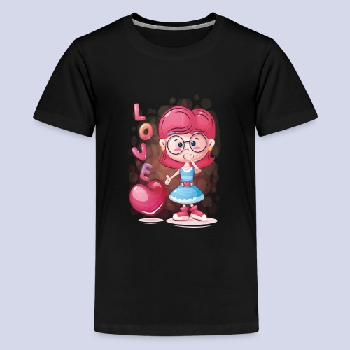 Funny and lovely girl cartoon design - Teenage Premium T-Shirt