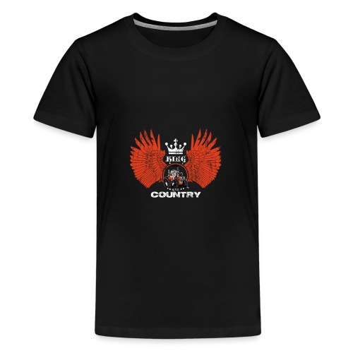 WINGS King of the country wit rood op zwart - Teenager Premium T-shirt