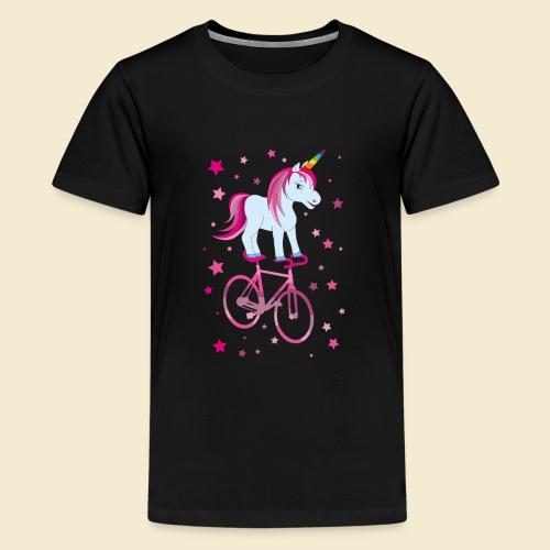 Kunstrad   Einhorn Pink - Teenager Premium T-Shirt