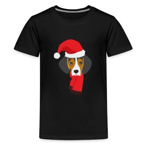 Cachorro de beagle vestido de Papa Noel - Camiseta premium adolescente