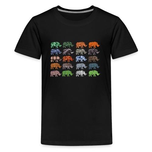 Multi Rhino - Teenage Premium T-Shirt