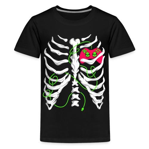 Skelett Gamer Gaming Controller - Teenager Premium T-Shirt