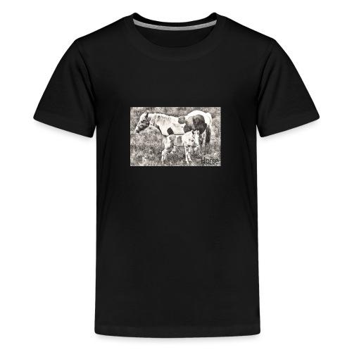 Pinto mit Fohlen - Teenager Premium T-Shirt