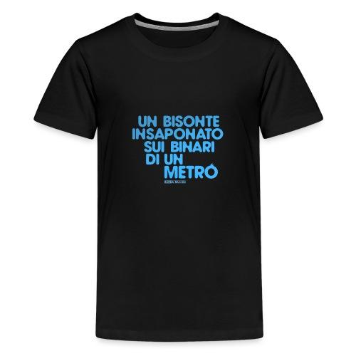 Un bisonte insaponato sui binari di un metrò. - Maglietta Premium per ragazzi