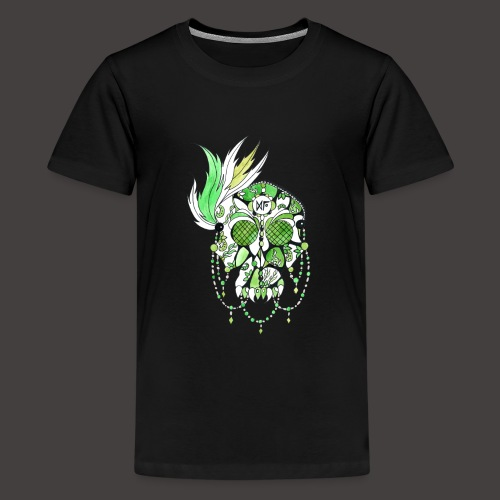 CRANE DENTELLE VERT FOND NOIR - T-shirt Premium Ado