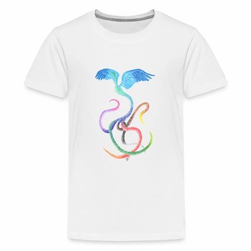 Graceful - Rainbow Bird in Ink - Teenage Premium T-Shirt