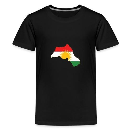 Kurdistan Flag Map - Teenager Premium T-Shirt