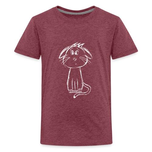 Kissa Kissanpentu valkoinen scribblesirii - Teinien premium t-paita