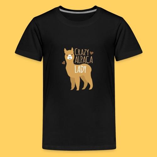 Crazy alpaca lady with love hearts - Teenage Premium T-Shirt