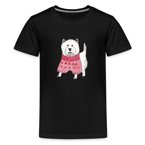 westie with sweater - Teenager premium T-shirt