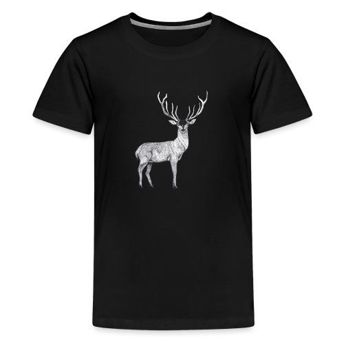 Hirsch Wald Tier Weihnachten Jagd Wild Geschenk - Teenager Premium T-Shirt