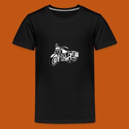 Chopper Motorrad 10_schwarz weiß - Teenager Premium T-Shirt