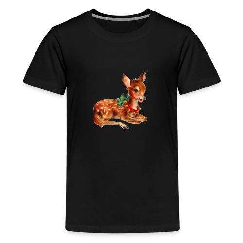Vintage Christmas Deer - Teenage Premium T-Shirt