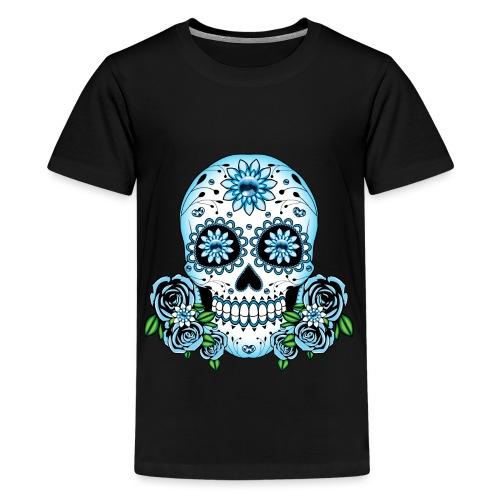 Blue Sugar Skull - Teenage Premium T-Shirt