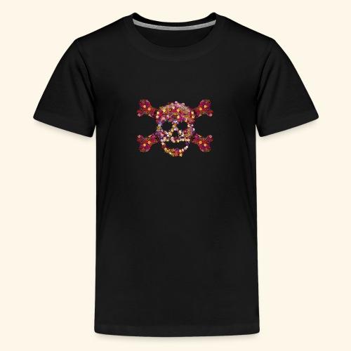 Crâne fleuri - T-shirt Premium Ado