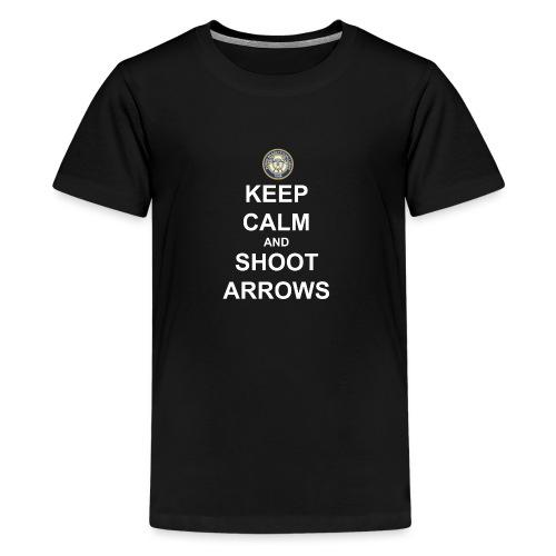Keep Calm and Shoot Arrows - Vit text - Premium-T-shirt tonåring