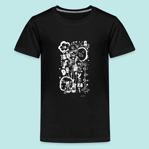 Fille manga dark avec monstres rock kawaii Blanc - T-shirt Premium Ado