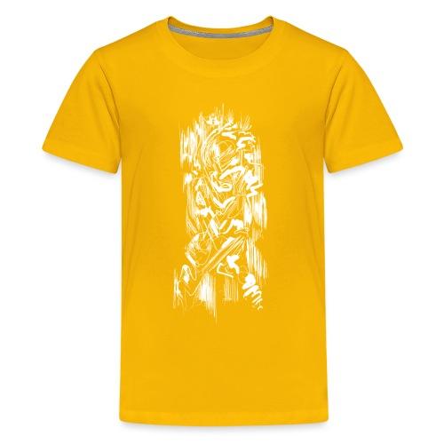 Samurai / White - Abstract Tatoo - Teenage Premium T-Shirt