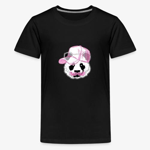 Panda - Pink - Cap - Mustache - Teenager Premium T-Shirt