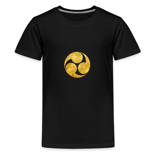 Kobayakawa Mon Japanese clan gold on black - Teenage Premium T-Shirt