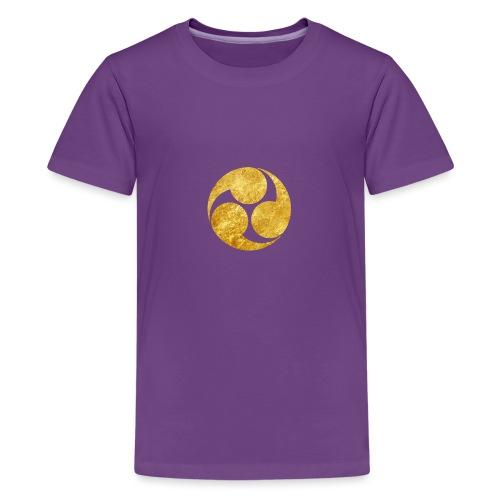 Kobayakawa Mon Japanese clan gold on black - Teenage Premium T-Shirt