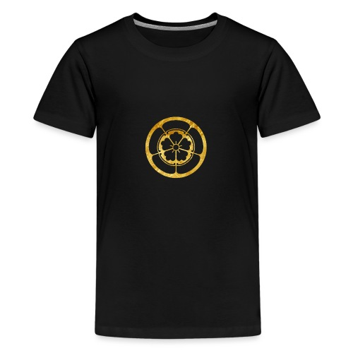 Oda Mon Japanese samurai clan in gold - Teenage Premium T-Shirt