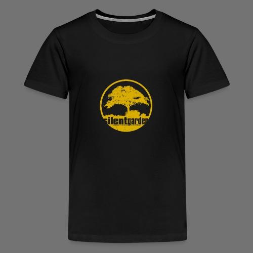 hiljainen puutarha (keltainen oldstyle) - Teinien premium t-paita