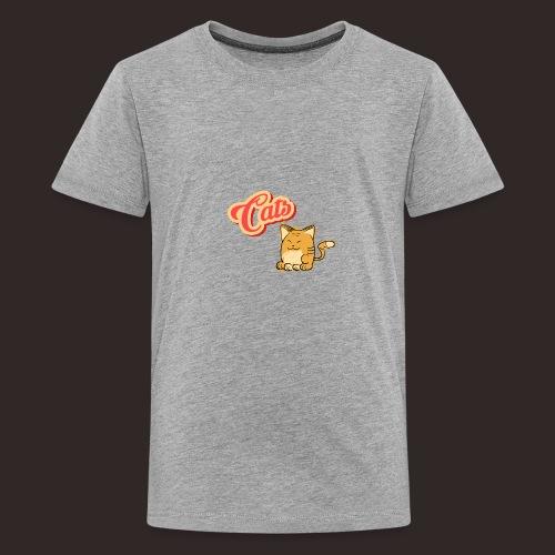 Katze | Katzen süß Schriftzug - Teenager Premium T-Shirt