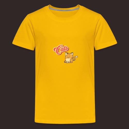 Katze   Katzen süß Schriftzug - Teenager Premium T-Shirt