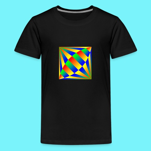 Giant cufflink design in blue, green, red, yellow. - Teenage Premium T-Shirt