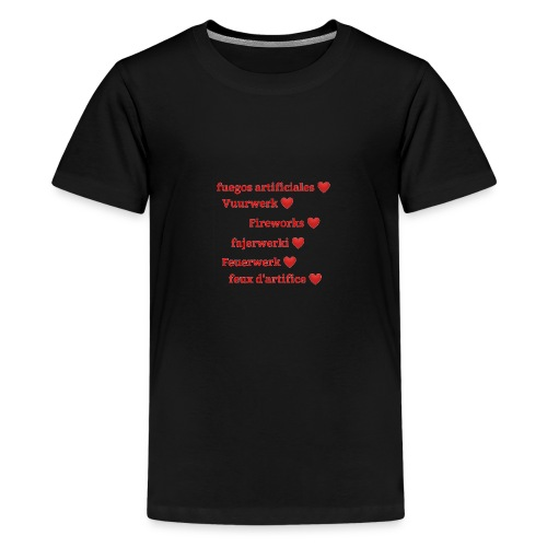 Vuurwerk in meerdere talen - Teenager Premium T-shirt