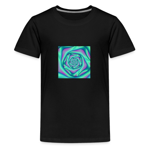 Silk Spiral Rose in Blue and Pink - Teenage Premium T-Shirt