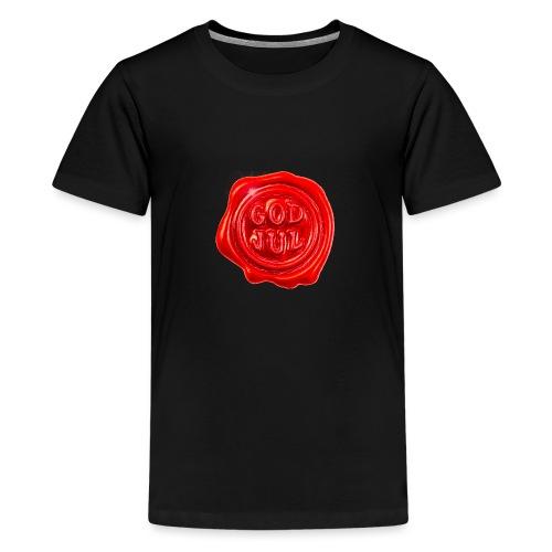 Rødt «god jul» lakksegl - detnorskeplagg.no - Premium T-skjorte for tenåringer