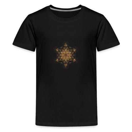 Fractal Metatron's Cube Orange - Teenage Premium T-Shirt