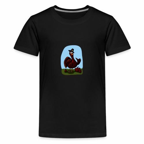 Black Cartoon Thumbs Up Turkey - Teenager Premium T-Shirt