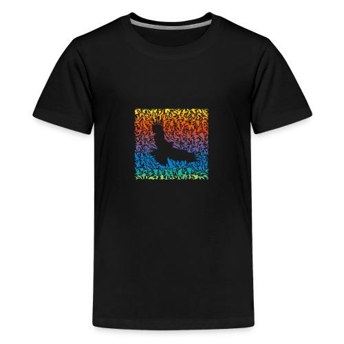 Abstract rainbow predator bird and its prey - Teenager Premium T-Shirt