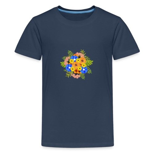 Blue Flower Arragement - Teenage Premium T-Shirt