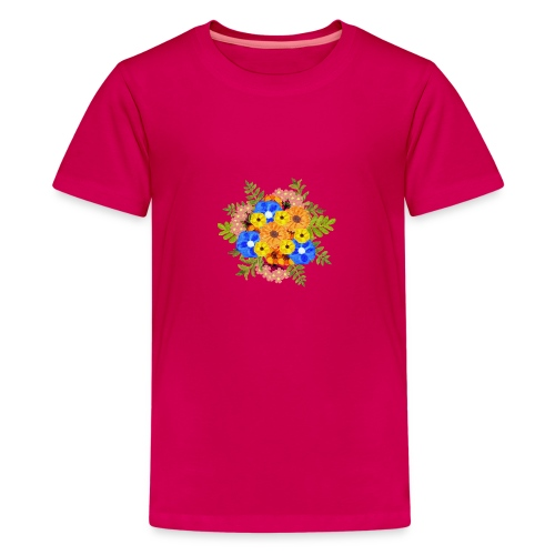 Blue Flower Arragement - Teenage Premium T-Shirt