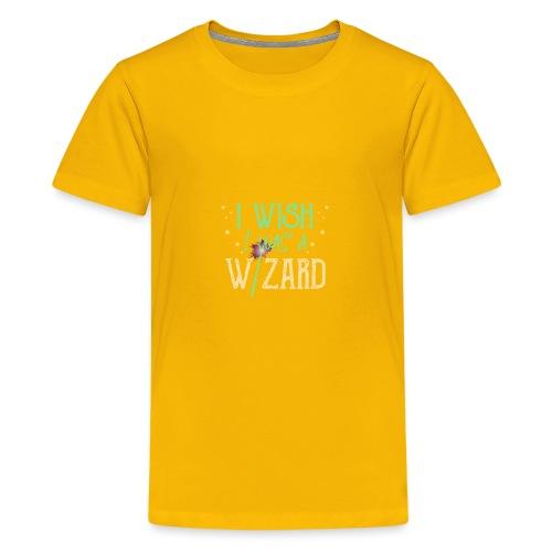 I Wish I Was A Wizard - Green - Teenage Premium T-Shirt