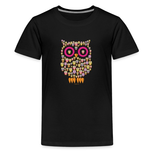 PÖLLÖPERHE OWL FAMILY - Funny textiles and Gifts - Teinien premium t-paita