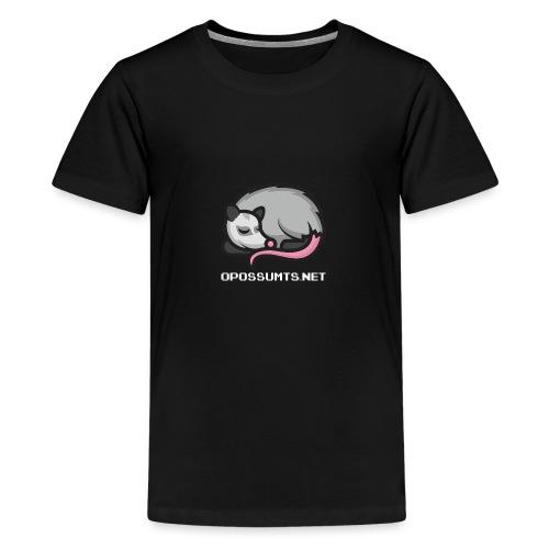 OpossumTS-Logo mit Schrift (WEiß) - Teenager Premium T-Shirt