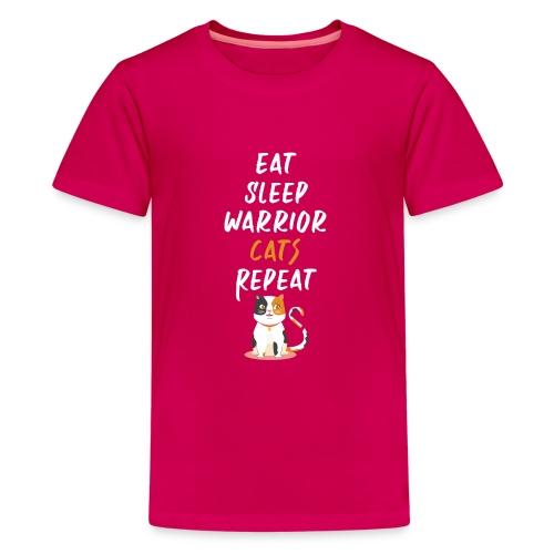 Eat sleep warrior cats repeat - T-shirt Premium Ado