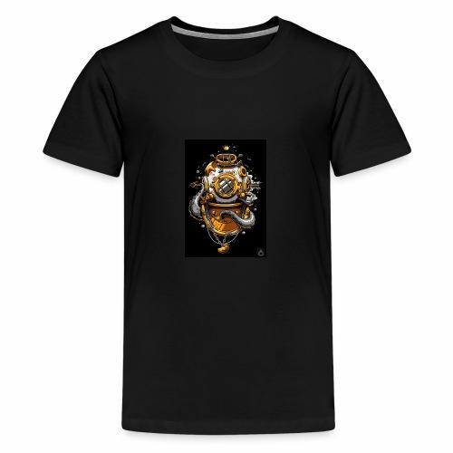 Dibujo de casco de buzo antiguo - Camiseta premium adolescente