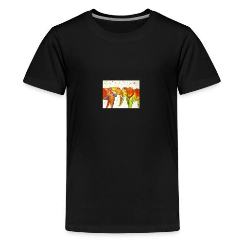Colourful Elephants Kissing - Teenage Premium T-Shirt