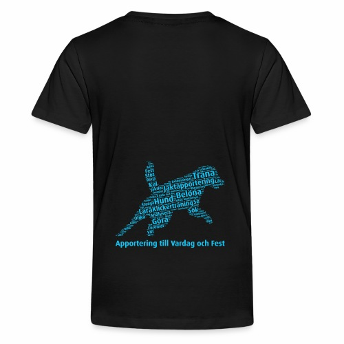 Apportering till vardag och fest wordcloud blått - Premium-T-shirt tonåring