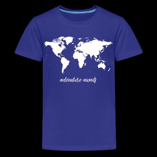 adventure awaits - Weltkarte - Teenager Premium T-Shirt