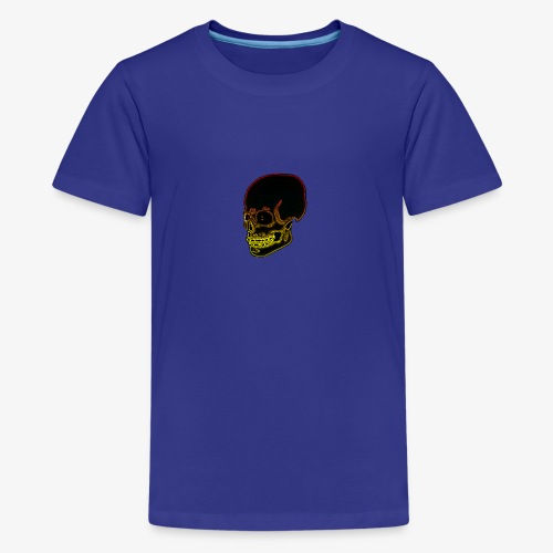Funky red and yellow neon skull - Teenage Premium T-Shirt
