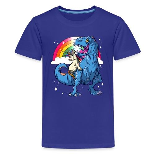 Dinosaurier mit Einhorn - Teenager Premium T-Shirt